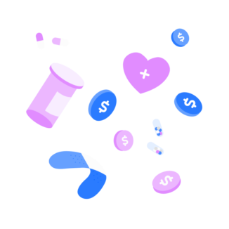 Coins and healthcare items floating on a pink background.