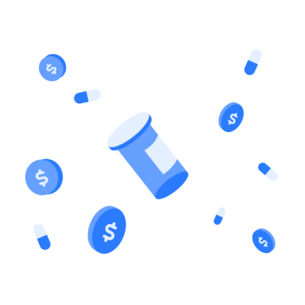 Pills and coins floating on a blue background.